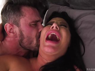 Ebony haired mama with fat boobies is boinking a fortunate stud, instead of say no to shush