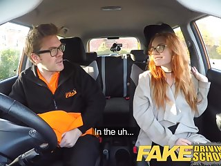 Fake Driving School Creampie in nerdy ginger teen puristic muff
