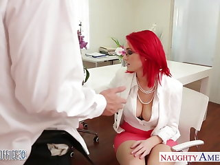 Redhead office babe Siri making out