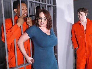 Busty Overprotect Maggie Green Takes Two BBCs relative to a Jail