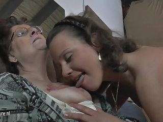 Unsophisticated amateur 3 old and young lesbians fuck each other