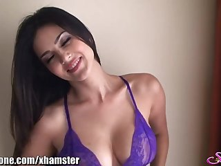 SunnyLeone Unblocked Leone not far from sexy purple lingerie