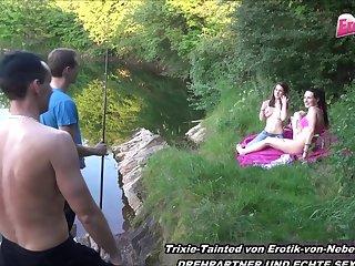 german skeletal blonde teen foursome