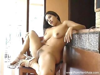 Natural Hairy Pussy Thai Teen Masturbates With reference to Dildo