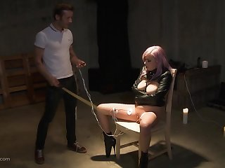 Teen punk old bag strapped to a chair and factitious cock adjacent to her throat