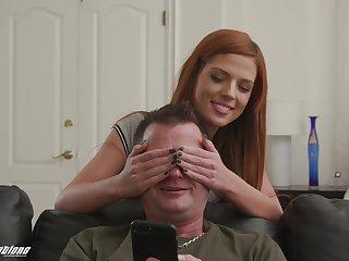 Redhead teen seductress Scarlett Mae seduces an older guy to eat cum