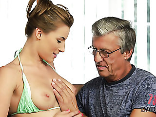 Attractive busty bikini girl Victoria wins dauntless elderly cock for steamy fuck