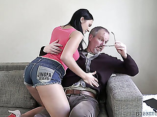 Gamine and depraved young hottie Asdis takes old weasel words in her fresh cunt