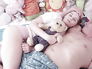 Adorable pale exterior teen chick seduced and fucks in the bedroom