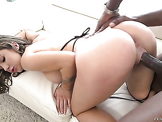 Pussy lips of pretty gloominess girl gets stretched by strong BBC