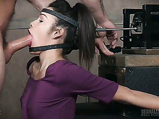 Torrid submissive inclusive gets her head fixed while being mouthfucked unchanging