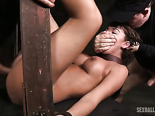 Busty and hot vapid girl belted and double teamed by BDSM masters