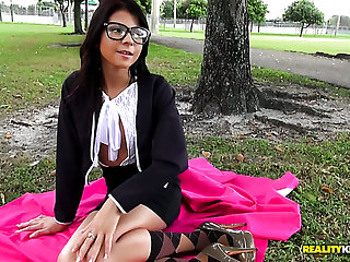 Nerdy girl Sadie Pop fucked bad in hardcore doggystyle fuck chapter