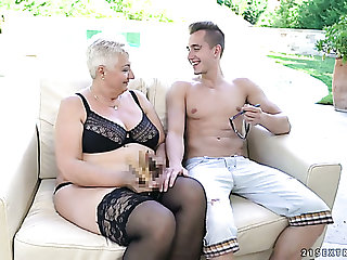Mature short haired blonde nympho in felonious stockings is fucked doggy hard