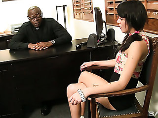 Gamine naughty gal Binky Bangs lures sinister priest to ride his fat BBC