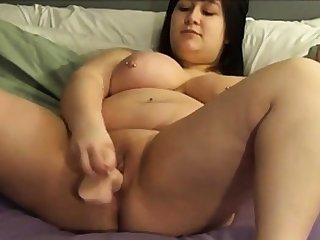 BBW shoves a dildo to herself mainly cam 2